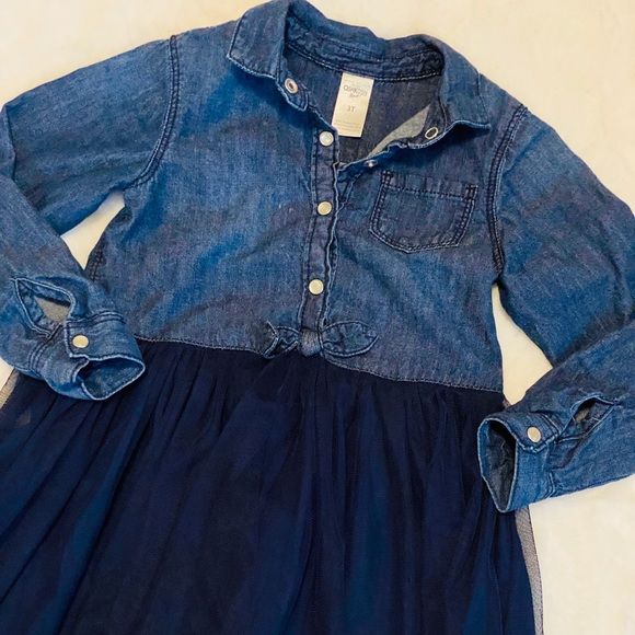 OshKosh B'gosh Other - Denim & Tulle OshKosh Button Down Dress sz 3T